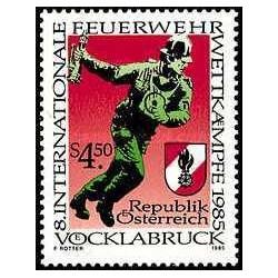 1 عدد تمبر هشتمین دوره رقابتهای بین المللی آتش نشانی - اتریش 1985