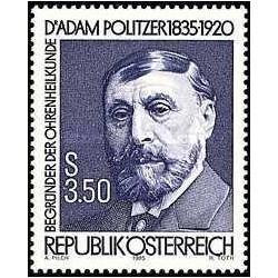 1 عدد تمبر یادبود پروفسور آدام پولیتزر - پزشک متخصص شنوائی  - اتریش 1985