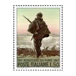 1 عدد تمبر پنجاهمین سال نبرد پیاو - ایتالیا 1967