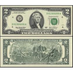 اسکناس 2 دلار - آمریکا 2003 سری D کلولند - مهر سبز