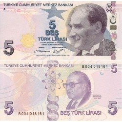 اسکناس 5 لیر - ترکیه 2009 سری B