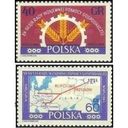 2 عدد تمبر پانزدهمین نشست شورای کمکهای اقتصادی متقابل - COMECON - لهستان 1961