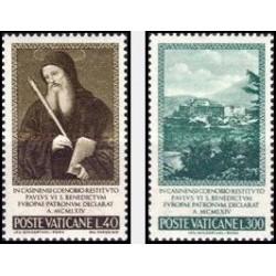 2 عدد تمبر بازسازی صومعه مونتکازینو - واتیکان 1965