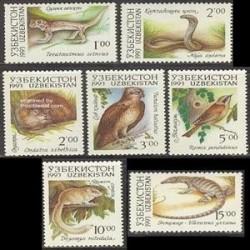6 عدد تمبرحیوانات - ازبکستان 1993