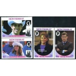 4 عدد تمبر ازدواج سلطنتی دوک و دوشس یورک  - مونتسرت 1986