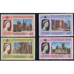 4 عدد تمبر  25مین سال تاجگذاری ملکه الیزابت دوم - گرندین و سنت وینسنت  1978