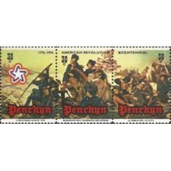 3 عدد تمبر  دویستمین سال استقلال آمریکا - نقاشی توسط امانوئل - پنرین 1976