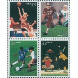 4 عدد تمبر ورزشهای تیمی - آمریکا 2000