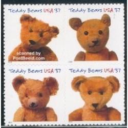 4 عدد تمبر جشن صدسالگی خرسهای تدی - خود چسب - آمریکا 2002