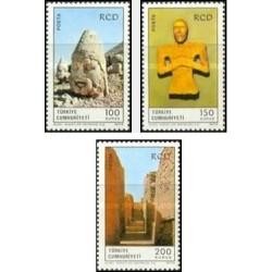 3 عدد تمبر سالگرد همکاری عمران منطقه ای - RCD - ایران ، پاکستان و ترکیه - ترکیه 1973