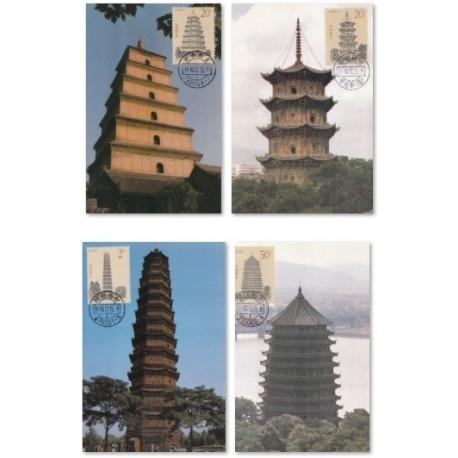 4 عدد ماکزیمم کارت معابد - pagodas - چین 1994