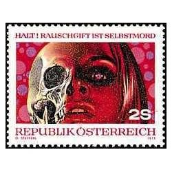 1 عدد تمبر  استعمال مواد مخدر - اتریش 1973