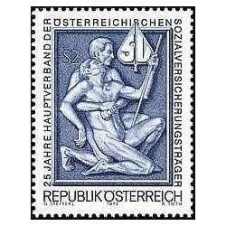 1 عدد تمبر 25مین سالگرد انجمن اولیه متولی تامین اجتماعی - اتریش 1973