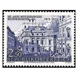 1 عدد تمبر صدمین سال سازمان جهانی هواشناسی - اتریش 1973
