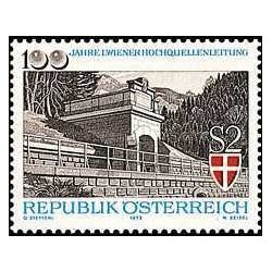 1 عدد تمبر صدمین سال اولین قنات آب شیرین وین - اتریش 1973