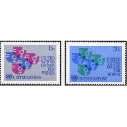 2 عدد تمبر دهه زنان سازمان ملل  - نیویورک سازمان ملل 1980