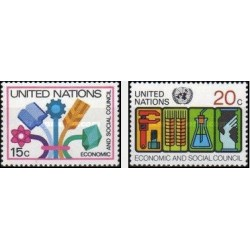2 عدد تمبر شورای اقتصادی اجتماعی - نیویورک - سازمان ملل 1980