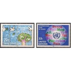 2 عدد تمبر سال بین المللی صلح - نیویورک - سازمان ملل 1986