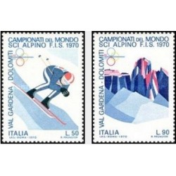 2 عدد تمبر مسابقات جهانی اسکی آلپاین - ایتالیا 1970