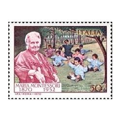 1 عدد تمبر یادبود ماریا مونته سوری - پزشک - ایتالیا 1970