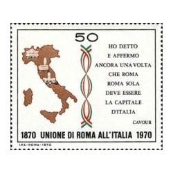 1 عدد تمبر صدمین سال اتحاد ایالات رم با ایتالیا - ایتالیا 1970