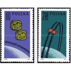 2 عدد تمبر پرواز مشترک فضاپیمای شوروی، وستوک 3 و 4 توسط آندریان نیکولایف و پاول پوپوویچ -  لهستان 1962