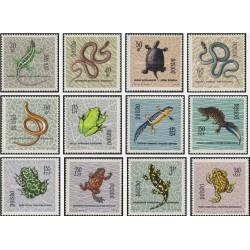 12 عدد تمبر خزندگان و دوزیستان حفاظت شده  -  لهستان 1963