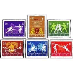 6 عدد تمبر مسابقات جهانی شمشیر بازی در گدانسک -  لهستان 1963