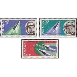 3 عدد تمبر دومین پرواز فضائی مشنرک -  لهستان 1963