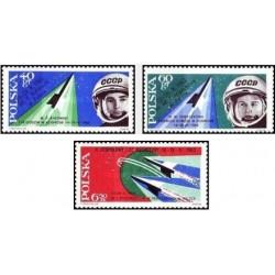 3 عدد تمبر دومین پرواز فضائی مشنرک - کیهان نورد ویزیت -  لهستان 1963