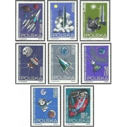 8 عدد تمبر تحقیق در فضا - لهستان 1964