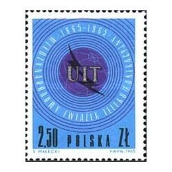 1 عدد تمبر صدمین سال اتحادیه بین المللی مخابرات - UIT - لهستان 1965