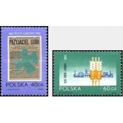 2 عدد تمبر سالگرد جنبش دهقانی - لهستان 1965