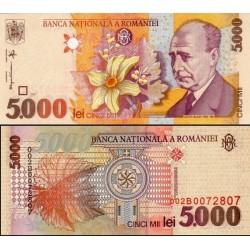 اسکناس 5000 لی - رومانی 1998 - حرف BNR در فیلیگران عمودی و ایتالیک