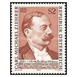 1 عدد تمبر یادبود کارل میخائیل زیهر - آهنگساز  - اتریش 1972