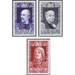 3 عدد تمبر چهره های نامدار - آلبرت راسل ،ژنرال مارسیو، سنته بیو  - فرانسه 1969