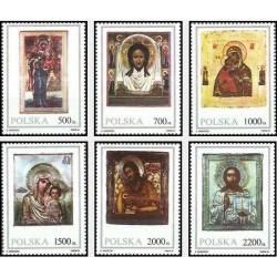 6 عدد تمبر شمایلها از موزه زیلونا - لهستان 1991