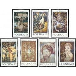 7 عدد تمبر پرده های منقش قلعه واول در کراکوو -تابلو آدم و حوا - لهستان 1970