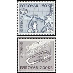 2 عدد تمبر مشترک اروپا - Europa Cept - حوادث تاریخی - جزائر فارو  1982