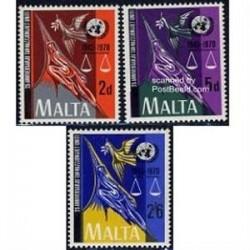 3 عدد تمبر بیست و پنجمین سال تاسیس سازمان ملل - مالت 1970