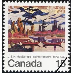 1 عدد تمبر 100مین سال تولد جیمز ادوارد هروی مکدونالد - هنرمند - تابلو - کانادا 1973