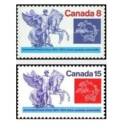 2 عدد تمبر صدمین سال اتحادیه جهانی پست - UPU - کانادا 1974
