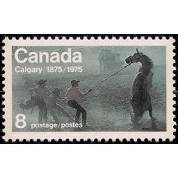 1 عدد تمبر صد سالگی ایالت کالگاری - کانادا 1975
