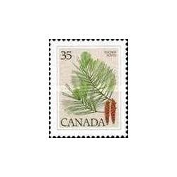 1 عدد تمبر سری پستی گیاهان - صنوبر سفید شرقی ، کاج نرم - کانادا 1979