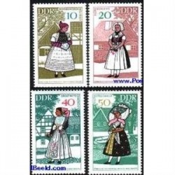 4 عدد تمبر لباسهای سنتی - آلمان 1968
