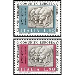 2 عدد تمبر بیستمین سالگرد انجمن زغال سنگ و فولاد اروپا - ایتالیا 1971