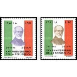 2 عدد تمبر 25مین سالگرد جمهوری ایتالیا - ایتالیا 1971