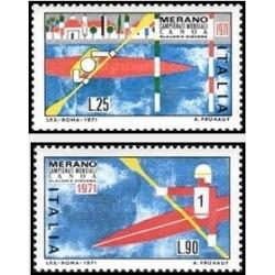 2 عدد تمبر مسابقات جهانی کتنو سرعت - ایتالیا 1971