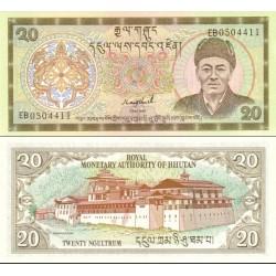 اسکناس 20 نگولتروم - بوتان 2000 پرفیکس سریال دوحرفی
