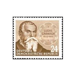 1 عدد تمبر یادبود 400مین سال درگذشت لوکاس کراناخ - نقاش دوره رنسانس - جمهوری دموکراتیک آلمان  قیمت 5.5 دلار1953